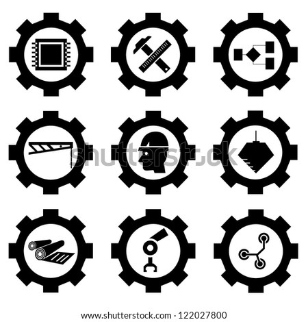 gear set, vector - stock vector