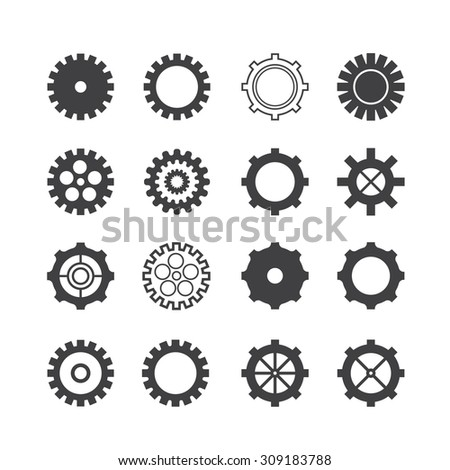 gear setting icon set - stock vector