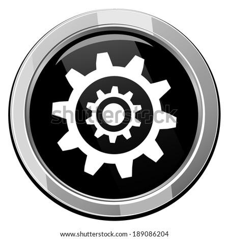 Gear symbol, vector black round icon - stock vector