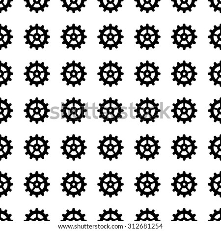 gear vector icon seamless pattern, tiling ornament on white.