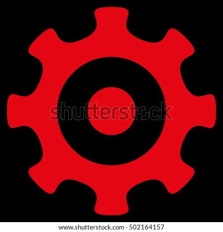 Gear vector icon. Style is flat graphic symbol, red color, black background.