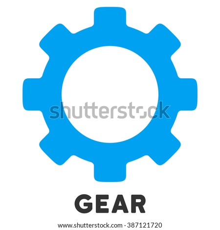 Gear vector icon with caption. Style is a flat symbol with rounded angles, light blue and gray colors.