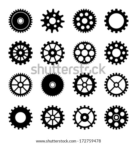 Gear wheel icons set 2 - stock vector