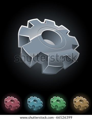 Gear wheel vector symbol set. Elements are layered separately in vector file. - stock vector