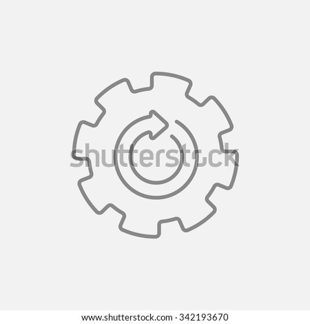 Gear wheel with arrow line icon for web, mobile and infographics. Vector dark grey icon isolated on light grey background. - stock vector