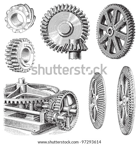 Gear wheels collection / vintage illustration from Meyers Konversations-Lexikon 1897 - stock vector
