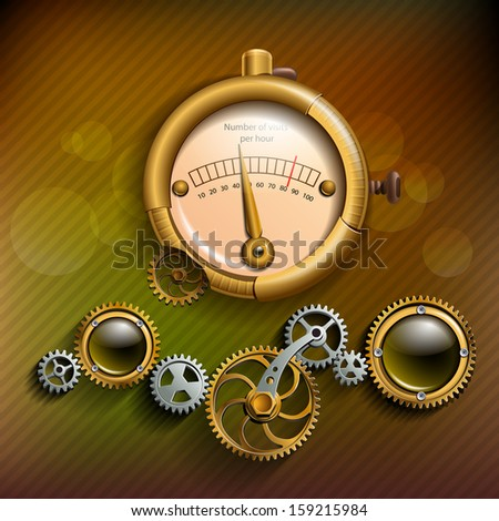 Gears and barometer in style, steam punk - stock vector