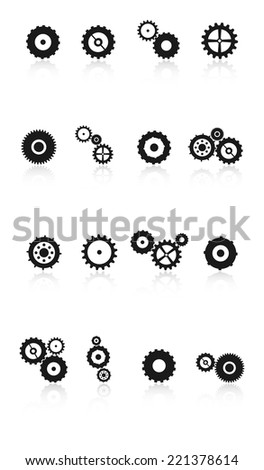 Gears And Cog Wheels Icons Set Vector With Reflection - stock vector