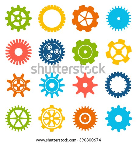 Gears and cogs icons set. Cog wheel Icon Collection. Vector illustration of cog icons isolated on white background. - stock vector