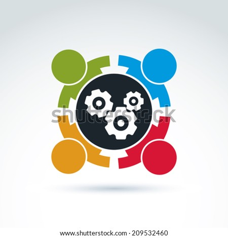 Gears and cogs teamwork theme icon, vector conceptual stylish symbol for your design. - stock vector