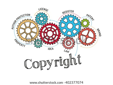 Gears and Copyright Mechanism - stock vector