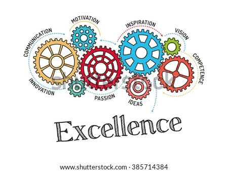 Gears and Excellence Mechanism - stock vector