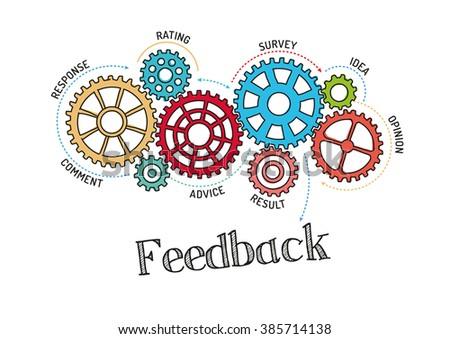 Gears and Feedback Mechanism - stock vector