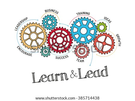 Gears and Learn and Lead Mechanism - stock vector