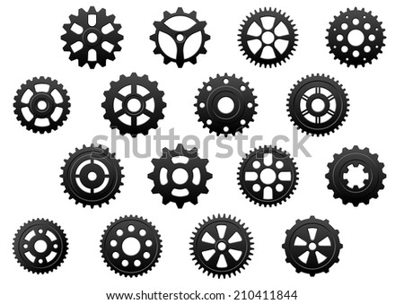 Gears and  pinions silhouettes set for technology, engineering and industrial design