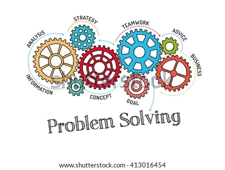 Gears and Problem Solving Mechanism - stock vector