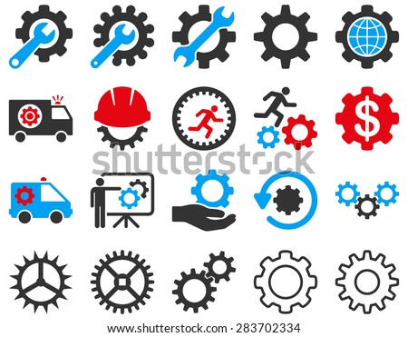 Gears and service icon set. - stock vector