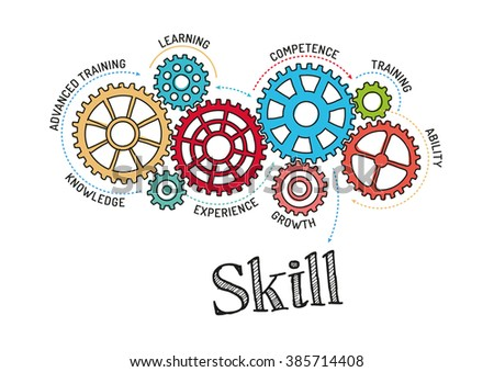 Gears and Skill Mechanism - stock vector