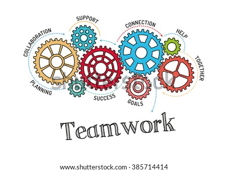 Gears and Teamwork Mechanism - stock vector