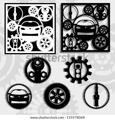 gears and the car,the abstract image of technical silhouettes rotating round its  pivot-center