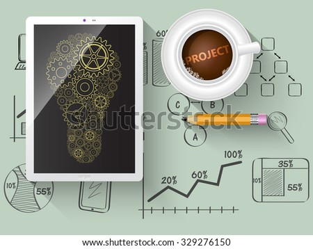 Gears as a design element in a light bulb. Notepad with business sketches. - stock vector
