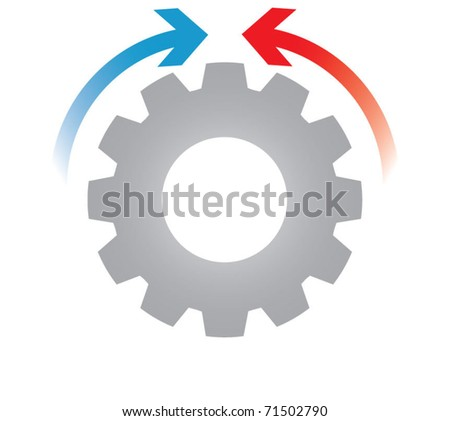 Gears blocked, business process concept - stock vector
