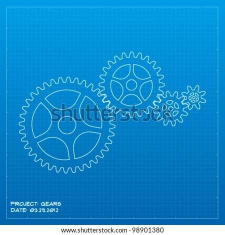 Gears blueprint. Business concept. Vector illustration. - stock vector