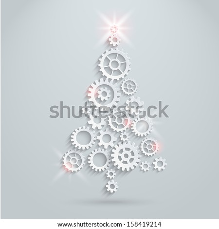 Gears Christmas tree - stock vector