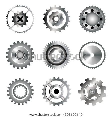 Gears, circular saw, bearing. Gradient icons. Vector image - stock vector