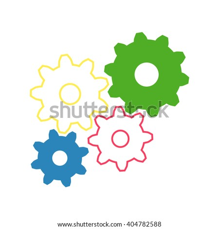 gears cog, on white background - stock vector