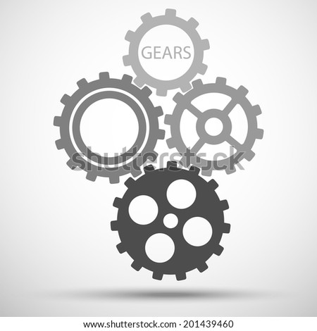 gears (cogs) is meshed on gray background. vector illustration eps10 - stock vector