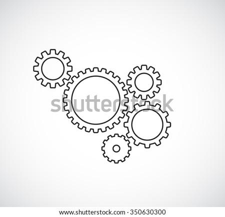gears cogs teamwork outline design - stock vector
