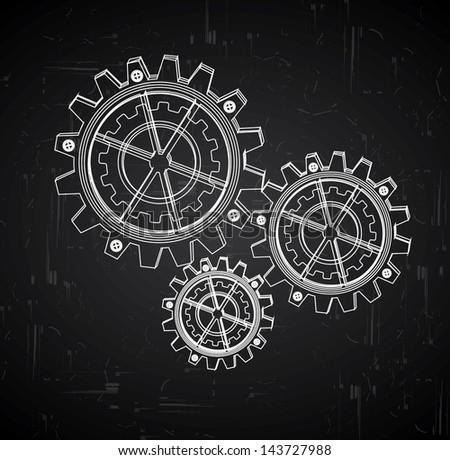 gears,design over black background vector illustration - stock vector