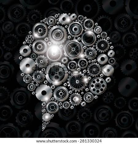 Gears design over black background, vector illustration - stock vector