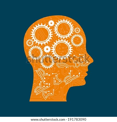 Gears design over blue background, vector illustration