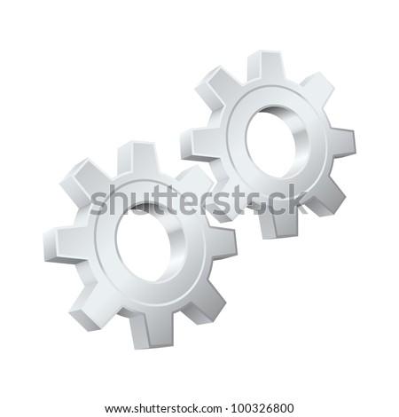 Gears icon. Vector illustration - stock vector