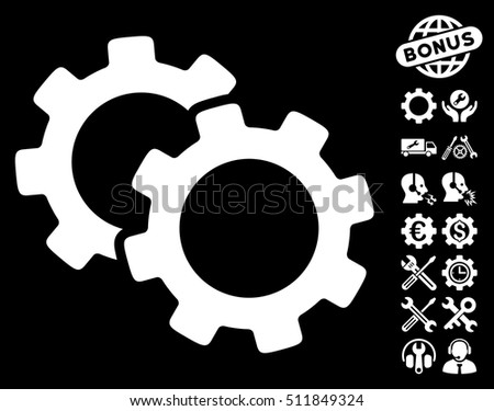 Gears icon with bonus setup tools pictures. Vector illustration style is flat iconic white symbols on black background.