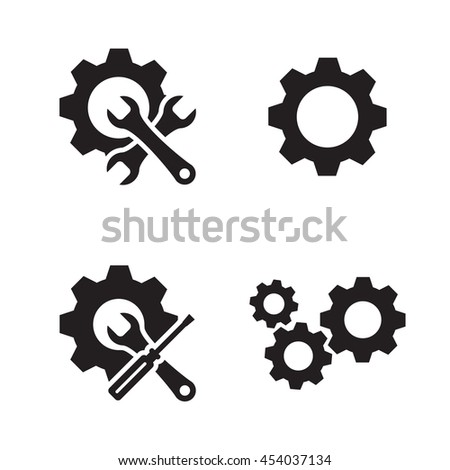 gears icons set black on a white background