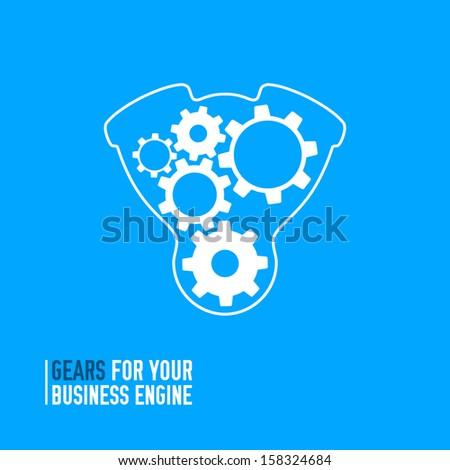 Gears inside engine. Vector illustration - stock vector