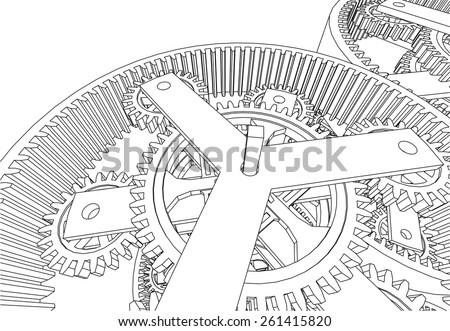 gears mechanism - stock vector