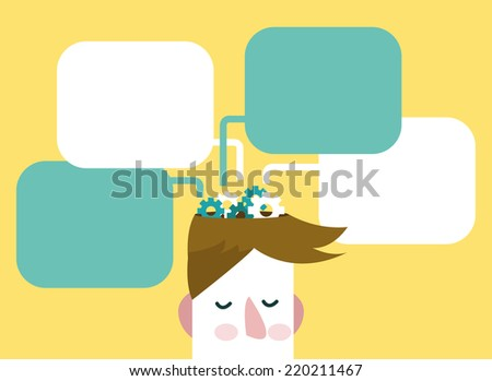 Gears of thoughts. Man with thinking bubbles.  flat design.vector illustration