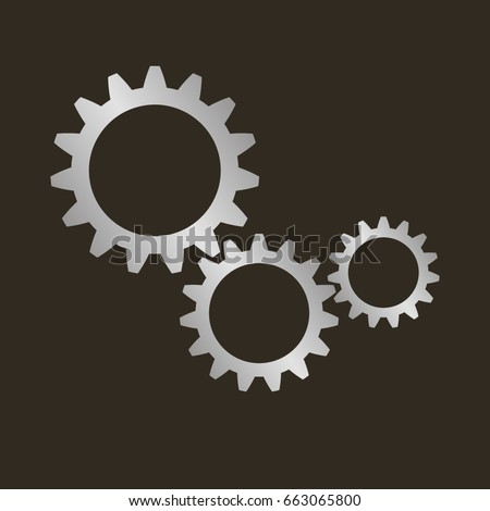 Gears on a black background. Vector illustration.