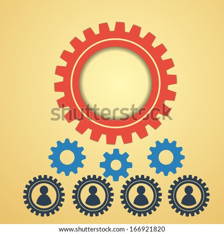 gears on a creative background, human resources concept with man siluets - stock vector