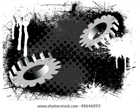 gears on abstract grunge background - vector