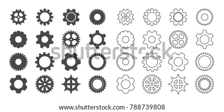 gears outline icon set