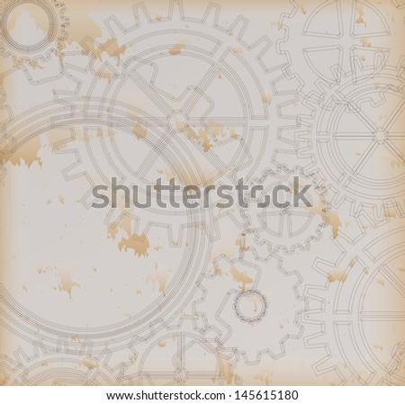 gears pattern over vintage background. Vector Illustration  - stock vector