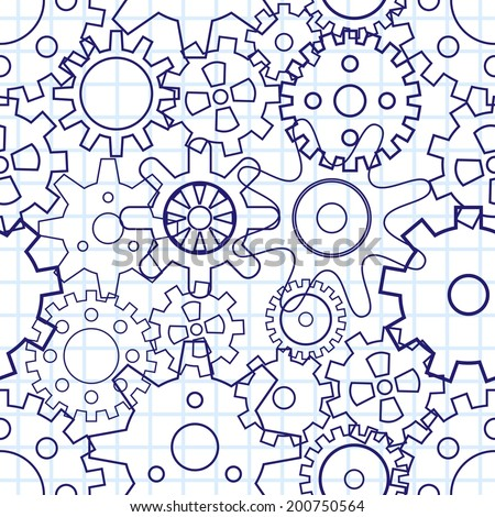 Gears, seamless pattern. Vector illustration - stock vector