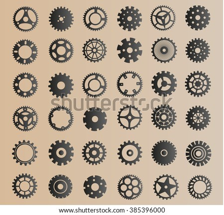 Gears set icons