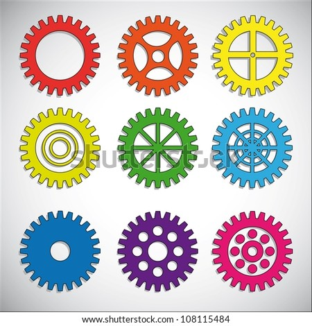 Gears set.Vector.Eps10 - stock vector