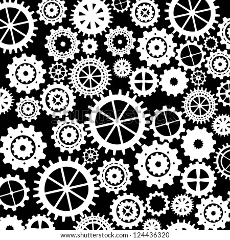 gears silhouette over black background. vector illustration - stock vector
